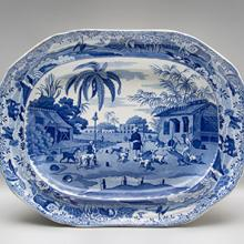 Platter, Dooreahs or Dog Keepers Leading Out Dogs pattern  c. 1815–30s