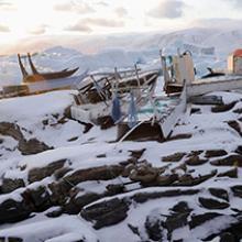 Abandoned dog sleds in Uummannaq, Greenland  2009
