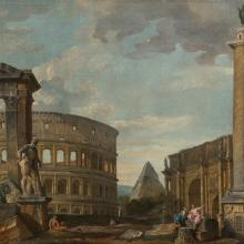 Capriccio View of Ancient Roman Monuments  c. 1755