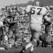 Quarterback John Brodie prepares to pass during a 27-24 victory over the Detroit Lions at Kezar Stadium October 23, 1966