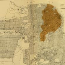 Atlas of Maps and Seismograms Accompanying the Report of the State Earthquake Investigation Commission: Map of the City of San Francisco Showing the Streets and the Burnt Area  1906