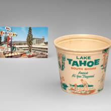 Tahoe Tropicana postcard  c. 1950s–60s, Lake Tahoe South Shore ice bucket  c. 1950s–60s