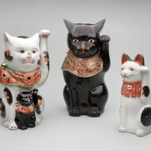 Maneki neko with kitten  20th century, Maneki neko  20th century