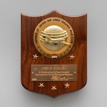 United Air Lines 100,000 Mile Club member plaque  1965