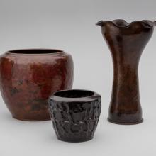 Warty jardinière  c. 1917, Wrinkled warty vase  c. 1912, Shell casing vase  c. 1908