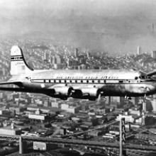 Pan American Airways, DC-4 with the Golden Gate Bridge in the background c. 1950