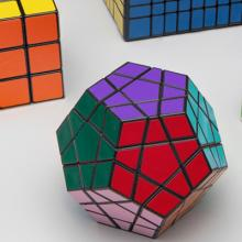 Rubik's cube, puzzle cubes, speed cube, and Megaminx 12-sided cube  late 20th century