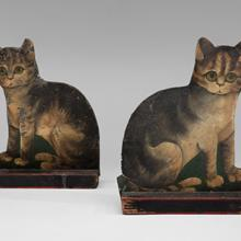 Toleware seated cats 19th century