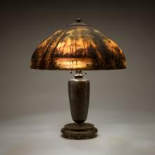 Lamp with painted shade  c. 1915