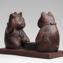 Maneki neko pair imitating the gods Daikoku and Ebisu playing Go  20th century