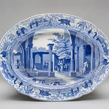 Oval platter, Antique Fragments at Limisso pattern  c. 1810–30s