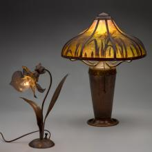 Flower lamp  c. 1907, Lamp with painted shade  1910