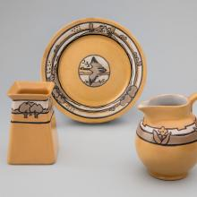 Square vase with trees  1919, Duck plate  1924, Floral pitcher  1919