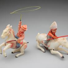 Wind-up rancher and wind-up Indian rider on horse  1930s