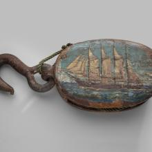 Block with painted schooner Aurora  c. 1900–40