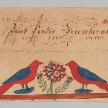 Fraktur reward of merit for Jacob Landis  1830