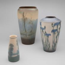 Small scenic vase  1924, Large scenic vase  1916, Vase with flowers  1916