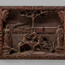 Carved wooden picture  1890
