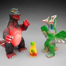 Blinking Godzilla lamp  1982; Hedorah figure from Godzilla vs. Hedorah  1971; King Ghidorah figure (Hawaiian version) from Ghidorah, the Three-Headed Monster  1975