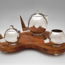 Tea set: teapot, sugar, creamer, tray  1950