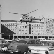 Sikorsky HO4S-3G helicopter hovers over the parking lot of the Public Health Service Hospital, Presidio of San Francisco  c. 1958
