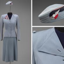 Transcontinental and Western Air hostess uniform by Howard Greer  1944