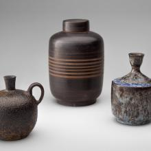 Oil bottle  c. 1935, Jug  1933–40, Covered vessel  c. early 1930s