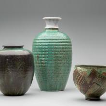 Vase  c. 1940s–50s, Textured vase  mid-1960s, Footed bowl  c. 1965
