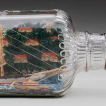 Model-in-bottle of a three-masted ship